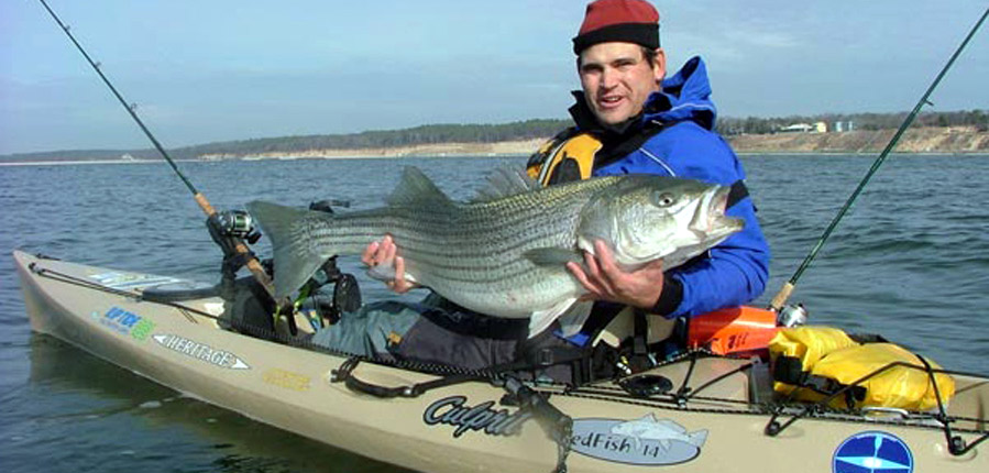 Cory Ruthelss Routh Kayak Fishing for Striped Bass in the Chesapeake Bay, Kiptopeke Virginia